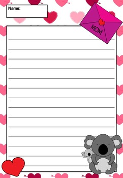 Writing Paper : Mother's Day Animals : Standard Lines