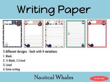 Writing Paper : Nautical Whales : Standard Lines