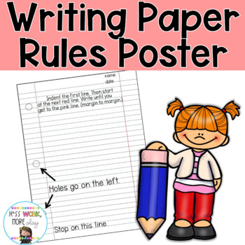 Writing Paper (Notebook Paper) Rules Poster