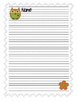 Writing Paper Owl Theme