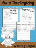 Writing Paper :  Owls Thanksgiving  : Primary Lines