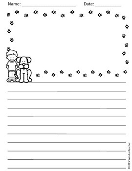 Writing Paper Pack for Elementary *dog, cat, book, ocean* 27 Reproducible Pages