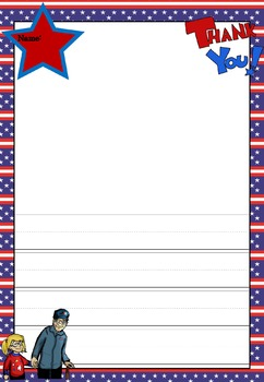 Writing Paper : Patriotic USA 2 : Primary Lines