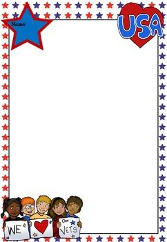 Writing Paper : Patriotic USA 2 : Primary Lines