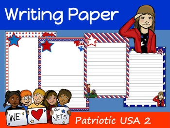 Writing Paper : Patriotic USA 2 : Standard Lines