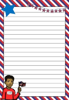 Writing Paper : Patriotic USA : Standard Lines
