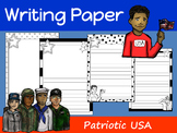 Writing Paper : Patriotic USA : Standard Lines : BW