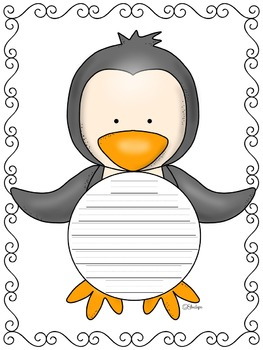 Writing Paper : Penguin Pop! : Primary Lines