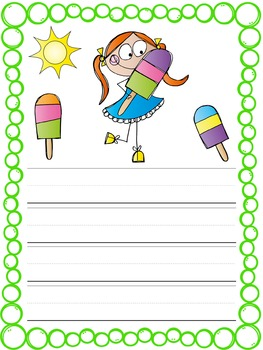 Writing Paper : Popsicle Kids : Primary Lines