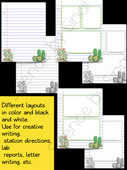 Writing Paper-SUCCULENTS/CACTUS Creative, Stations, Letters, Lab Reports