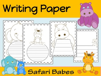 Writing Paper : Safari Babes : Primary Lines : BW