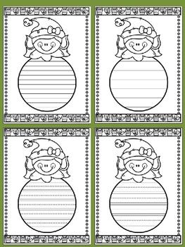 Writing Paper : Santa's Helpers Peek-a-boo