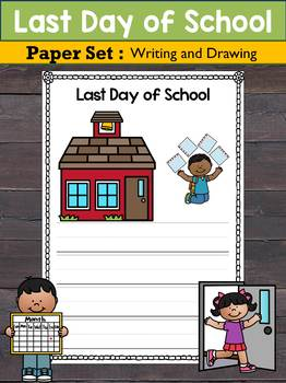 Writing Paper Set : Last Day of School / Vacation : Primary Lines