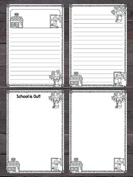 Writing Paper Set : Last Day of School / Vacation : Standard Lnes