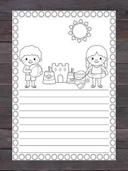 Writing Paper Set : Summer Beach : Standard Lines