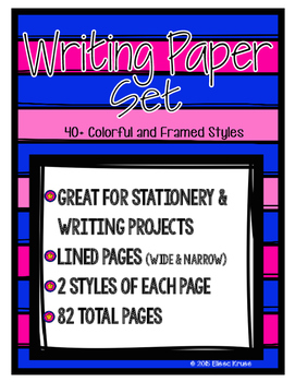 Writing Paper Set with Colorful Frames- 80+ pages