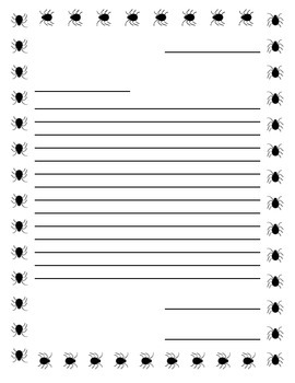 Writing Paper, Spider Border with Narrow Lines in Friendly Letter Format