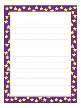 Writing Paper: Stars in 3 colors, blue, red, and purple