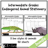 Writing Paper Stationery | Endangered Animals  | Intermediate | College Rule