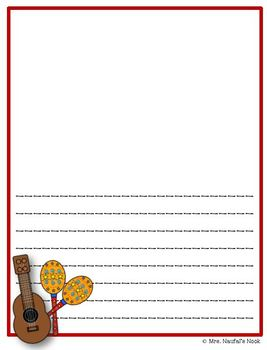 Writing Paper Templates - Musical Instruments Theme