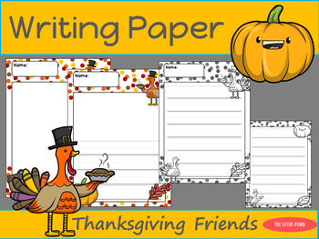Writing Paper : Thanksgiving Friends : Primary Lines