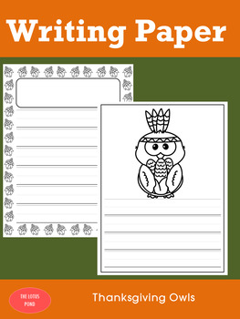 Writing Paper : Thanksgiving Owls - Primary Lines & Black and White