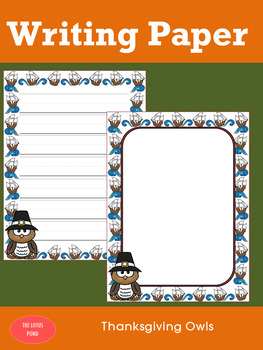 Writing Paper : Thanksgiving Owls - Primary Lines & Color
