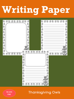 Writing Paper : Thanksgiving Owls - Standard Lines & Black and White