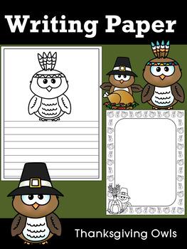 Writing Paper : Thanksgiving Owls - Standard Lines & Black