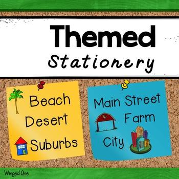 Writing Paper Themed {Beach, Farm, City, Suburbs, Desert,