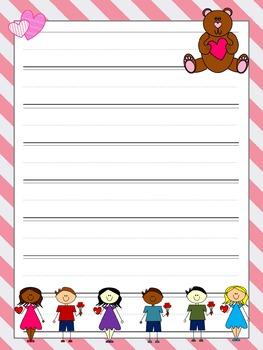 Writing Paper : Valentines Kids