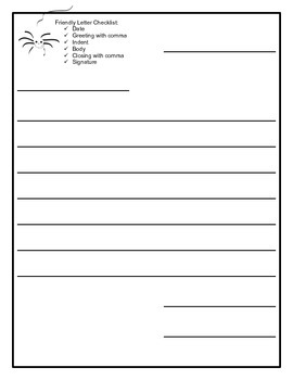 Writing Paper, Wide-Lined Friendly Letter with Checklist