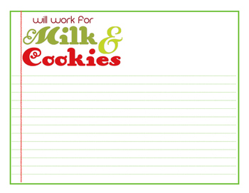 Writing Paper - Will Work for Milk & Cookies