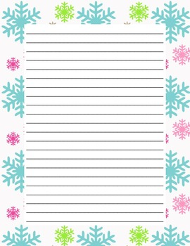 Writing Paper - Winter - Colorful Snowflakes