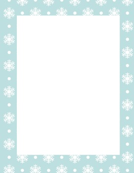 Writing Paper - Winter - Snowflakes - 2 Styles -Blue and White - Pink and White