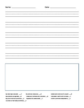 Writing Paper With Rubric For Kindergarten