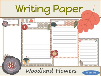 Writing Paper : Woodland Flowers : Primary Lines