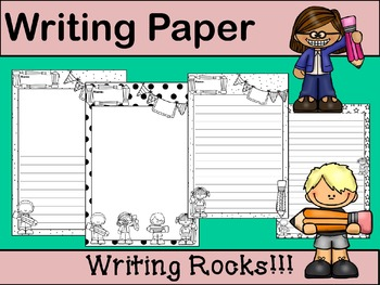 Writing Paper : Writing Rocks! : Standard Lines : BW