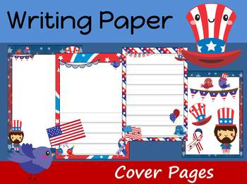 Writing Paper and Cover Pages : Cute Patriotic July 4th USA : Primary Lines