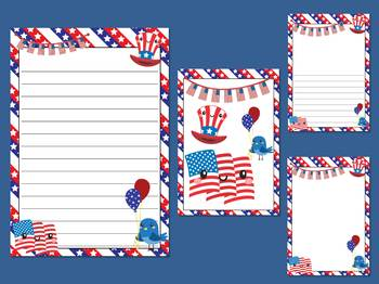 Writing Paper and Cover Pages : Cute Patriotic July 4th USA : Standard Lines