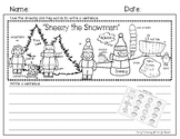 """Writing Paper and Rubric """"Sneezy the Snowman"""""""