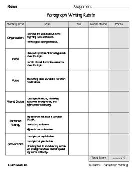 Writing Paper and Rubrics for Primary Grades
