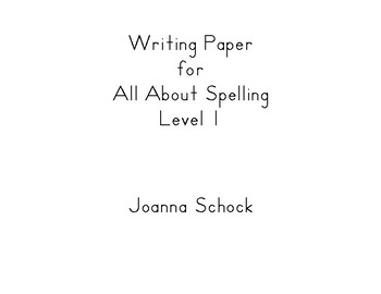 Writing Paper for All About Spelling Level 1