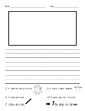 Kindergarten/ First Grade Writing Paper with Checklist