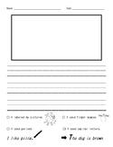 Kindergarten/ First Grade Writing Paper with Checklist