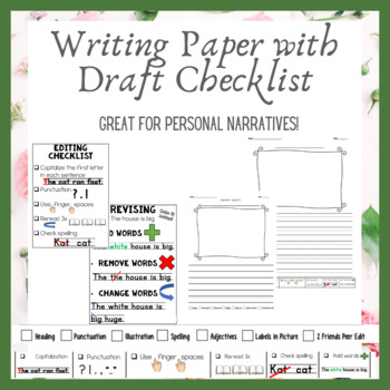 Writing Paper with Checklists, Rough Draft and Final Pages (Primary and Regular)