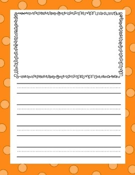 Writing Paper with Color Borders - illustration boxes and 3-lined full sheets