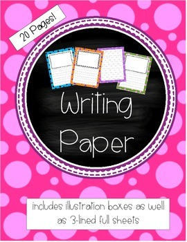 Writing Paper with Color Borders - illustration boxes and 3-lined ...