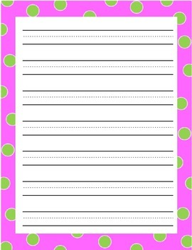 Paper with Color Borders - illustration boxes and 3-lined full sheets