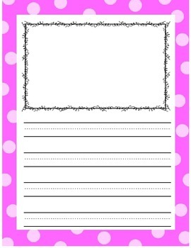 Writing Paper with Color and Blackline Borders - 3-lined sheets